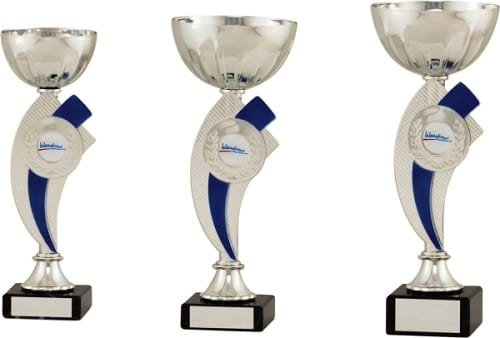 Silver Bowl Cups on Blue Stems 2068 Series