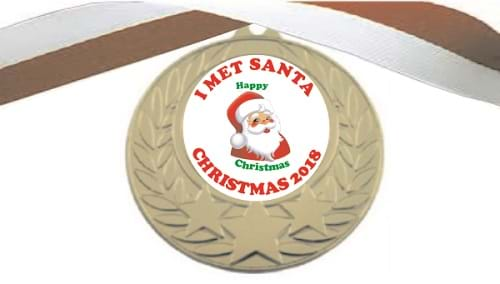 I Met Santa Medals with Ribbon