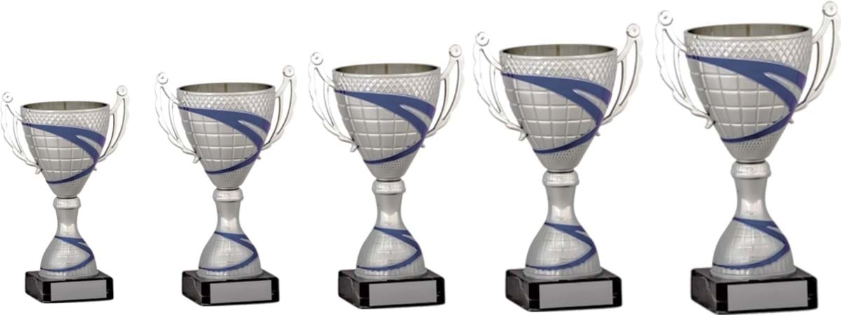 Silver Blue Cup Trophies