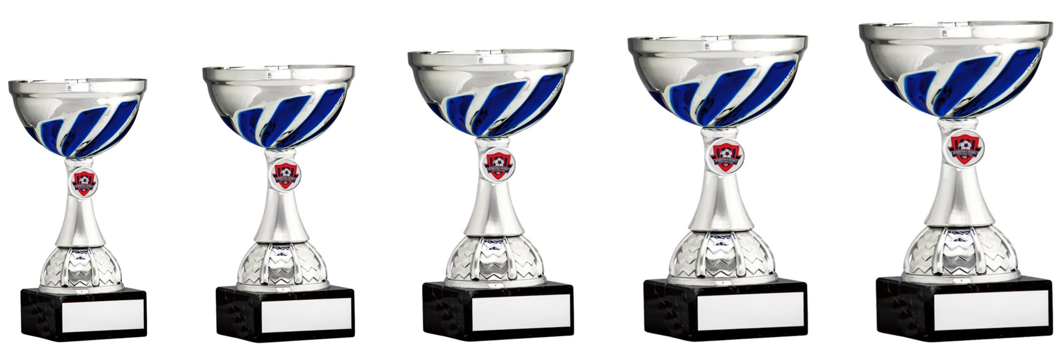 Silver Blue Swirl Cup Trophies 1904 Series
