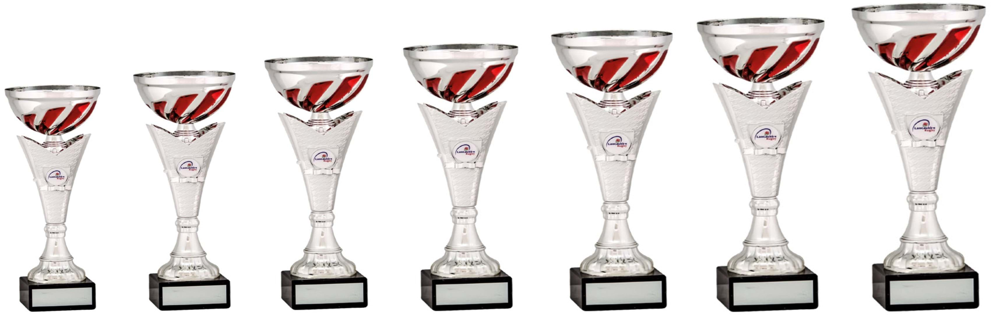 Silver Red Swirl Bowl Cups Stem 1918 Series