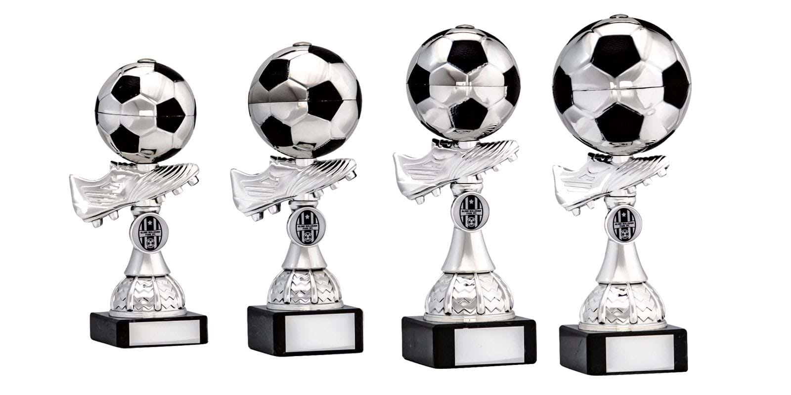 Silver Football Boot and Ball Trophies 1882 Series