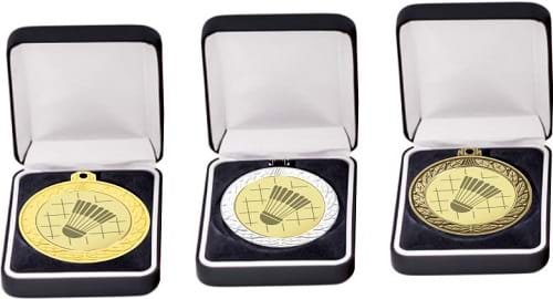 Badminton Shiny Plated Medals in Presentation Box