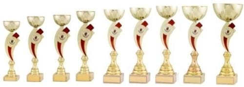 Gold Bowl Cups with Red Stem