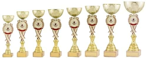 Tall Gold Bowl Cups Red Trim 2058 Series